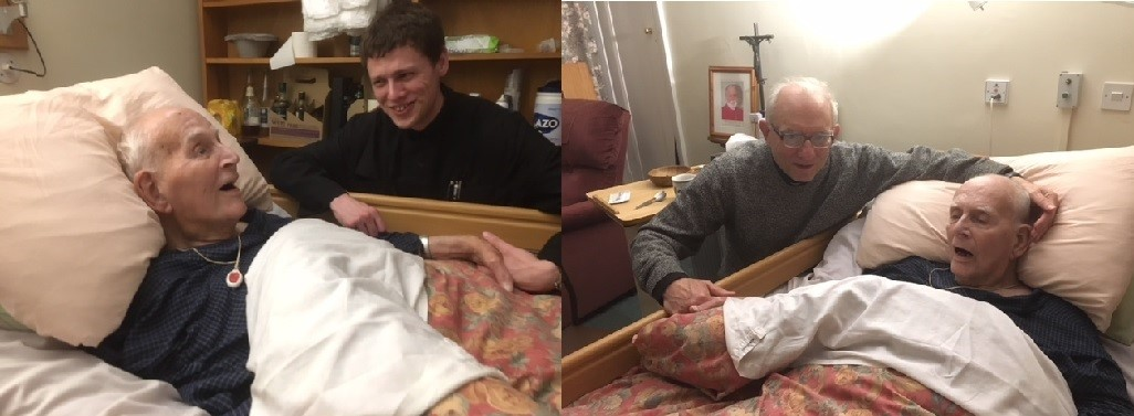 Theo with Brother Benedict and Theo with Jonathan on 28 October 2 days before he died.